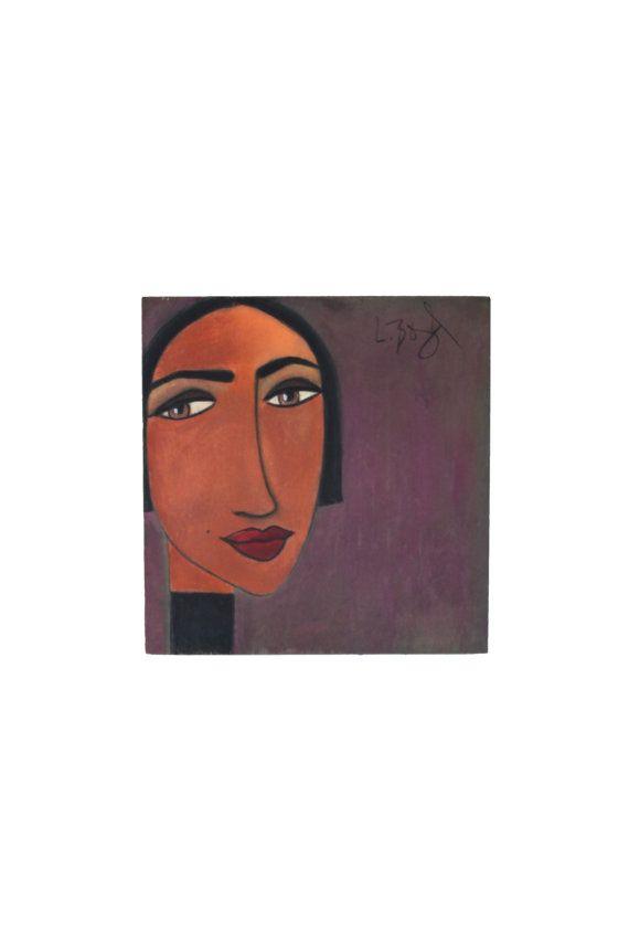 """Original Portrait Painting Pastels on Wood """"Ivy"""""""