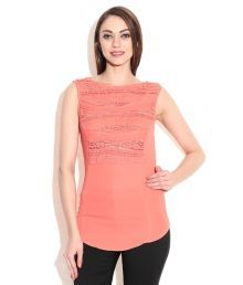 Madame Orange Polyester Round Neck Tops
