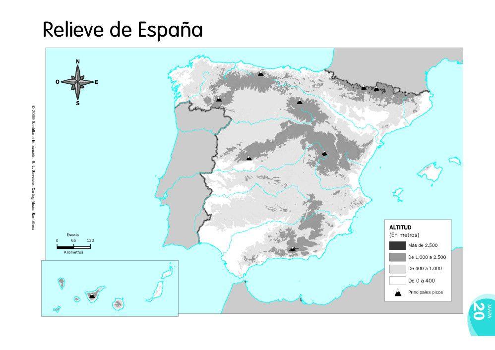 Mapa Climatico De España Mudo.Mapas De Espana Fisicos Politicos Y Mudos Relieve Espana