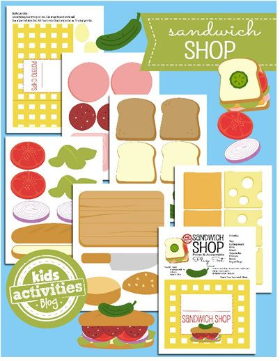 Free Printable of the Day Use the free printable Sandwich Shop
