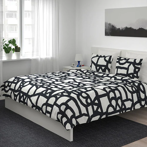 Skuggbracka Duvet Cover And Pillowcase S White Black Full Queen Double Queen Ikea Duvet Covers White Duvet Covers Black Duvet Cover