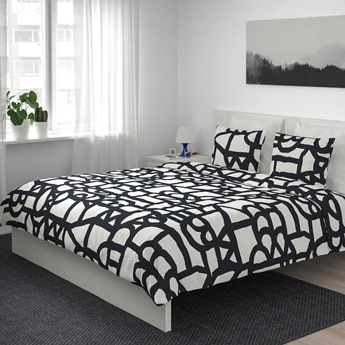 Skuggbracka Duvet Cover And Pillowcase S White Black Full Queen Double Queen Ikea Duvet Covers Bed Linen Sets Black Duvet Cover