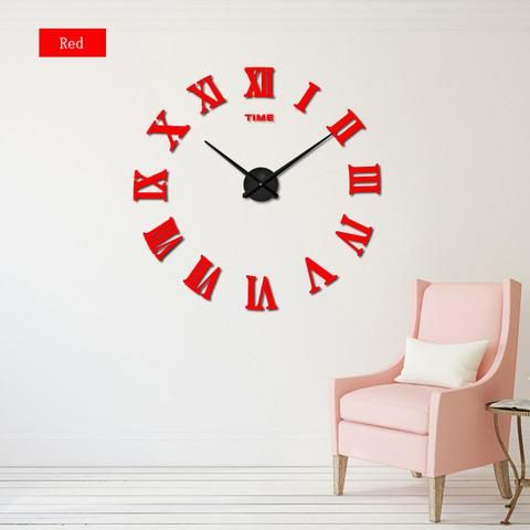 Diy Roman Numeral Wall Clocks Red Black Gray Blue Pink