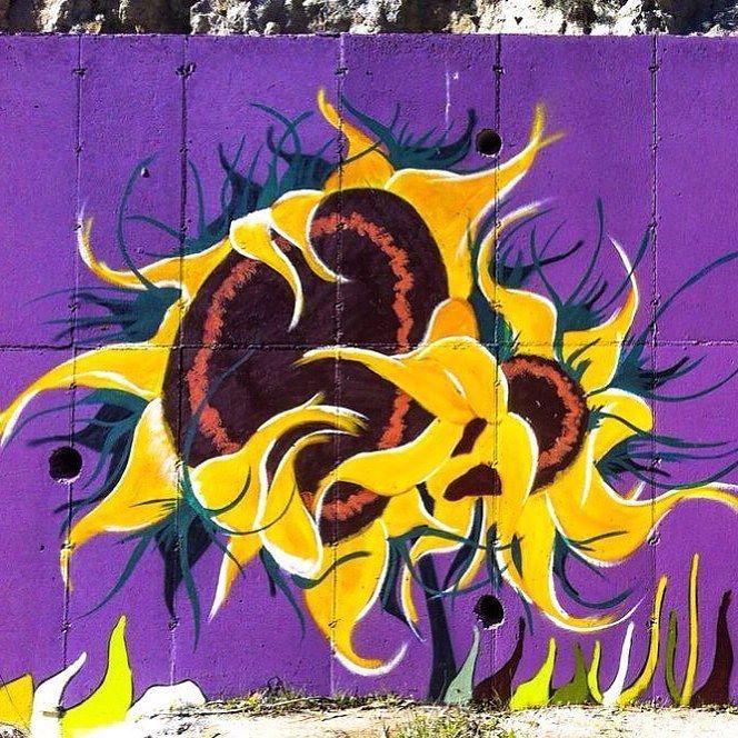 Detail from the purple wall. Sunflowers! #art #wallart #graffiti ...
