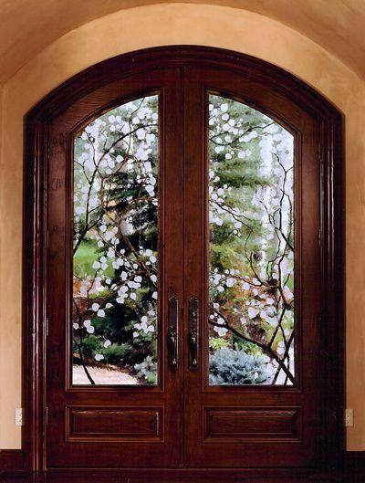 Etched Aspen Leaves With Steel Aspen Branch Overlays Entry Door Glass Design Glass Design Exterior Doors