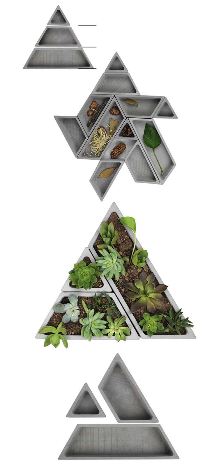 Geometric Concrete Desk Tidy Modular Office Desk Organizer Succulent Planter Plant Pot Flower Pot Flower Pots Succulent Planter Concrete Pots