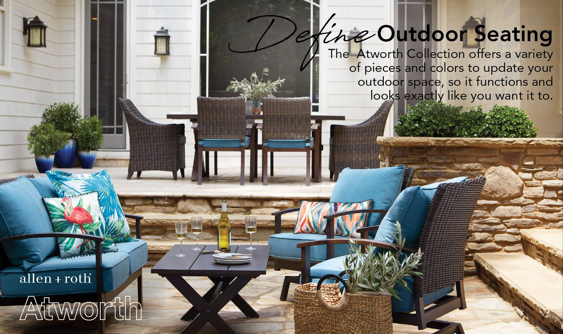 Allen Roth Atworth Outdoor Sofa With Cushion And Peacock Blue Aluminum Frame Lowes Com Patio Lowes Patio Furniture Conversation Set Patio