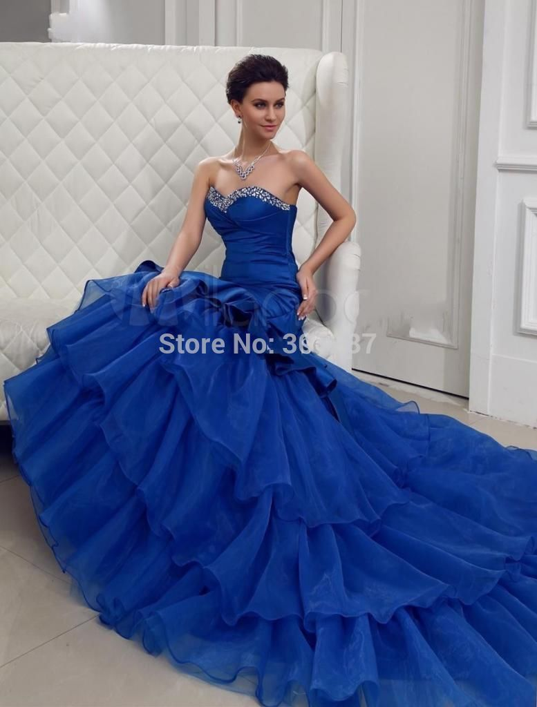 Pretty Royal Blue Mermaid Wedding Dresses Cherrymarry 18