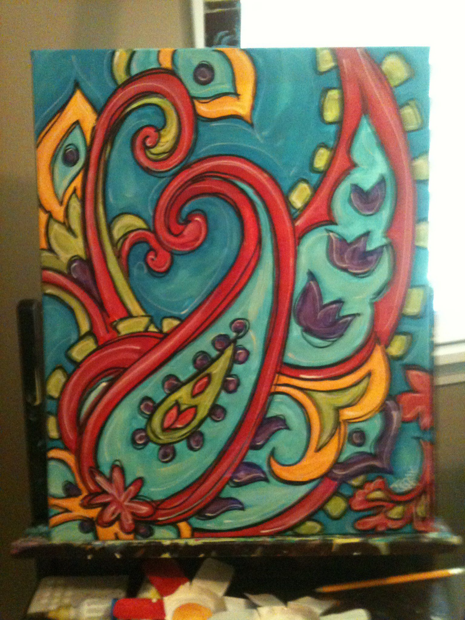 Paisley paint your own pottery paisley painting jenny for Abstract mural ideas