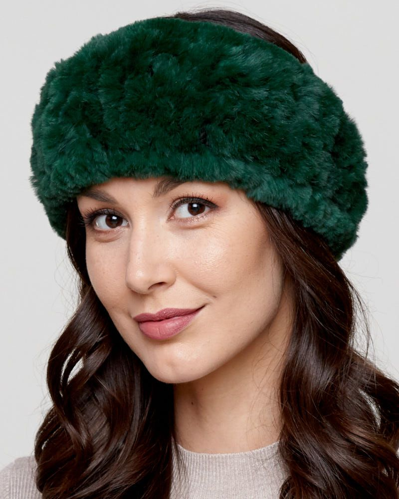 Stand out with a stunning Knit Rex Rabbit Fur Headband in Emerald for the  fashionable woman s wardrobe. Bright green dyed Rex rabbit fur does not  shed with ... 9fc40f2c947