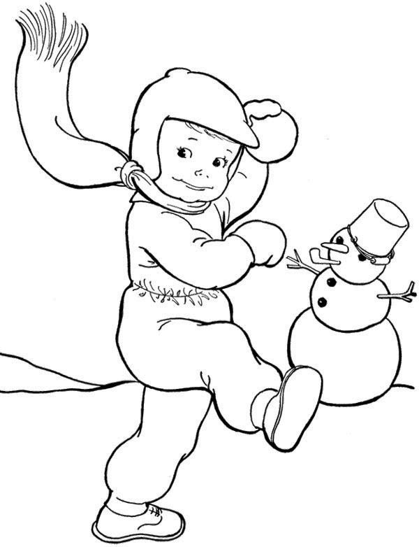 Throwing Snowballs Winter Coloring Page Winter Outdoor Activities
