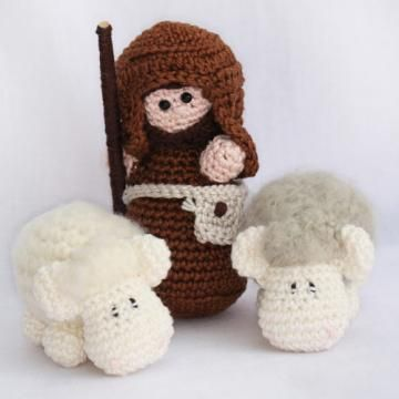 Nativity set: Shepherd and his sheep amigurumi pattern by Woolytoons