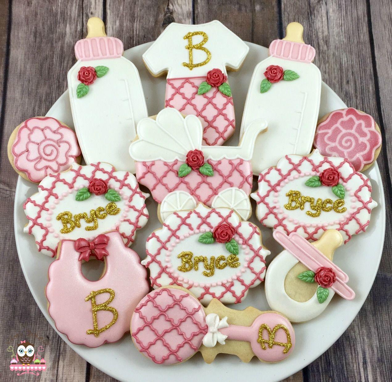 Baby shower cookies, baby bottle cookies, rattle cookies ...