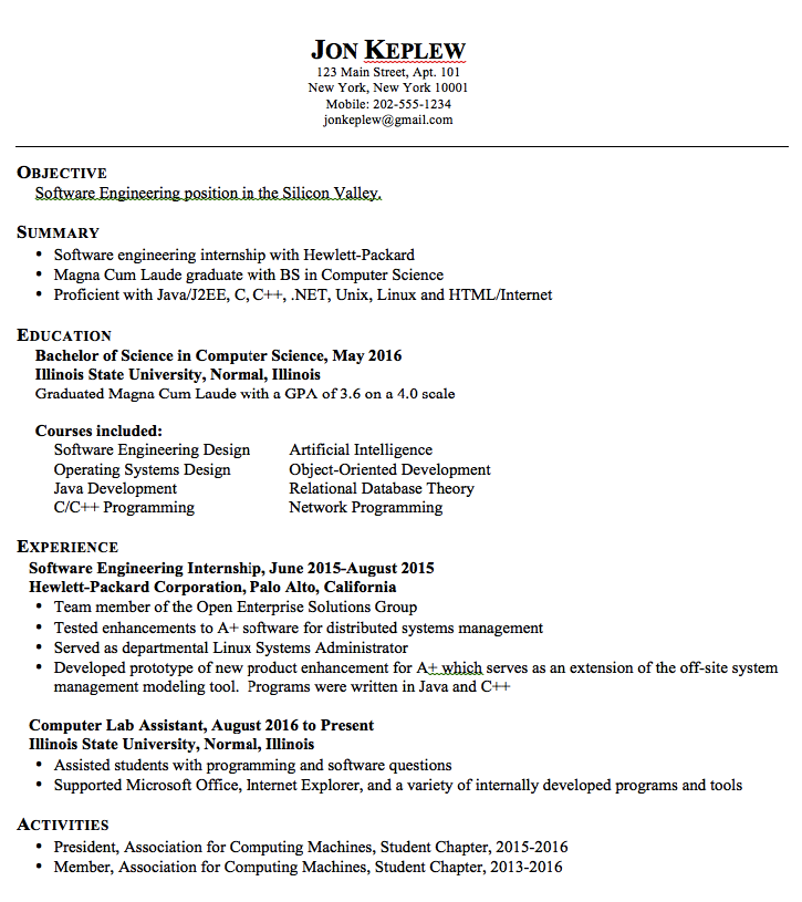 Sample Resume Software Engineering Examples Resume Cv