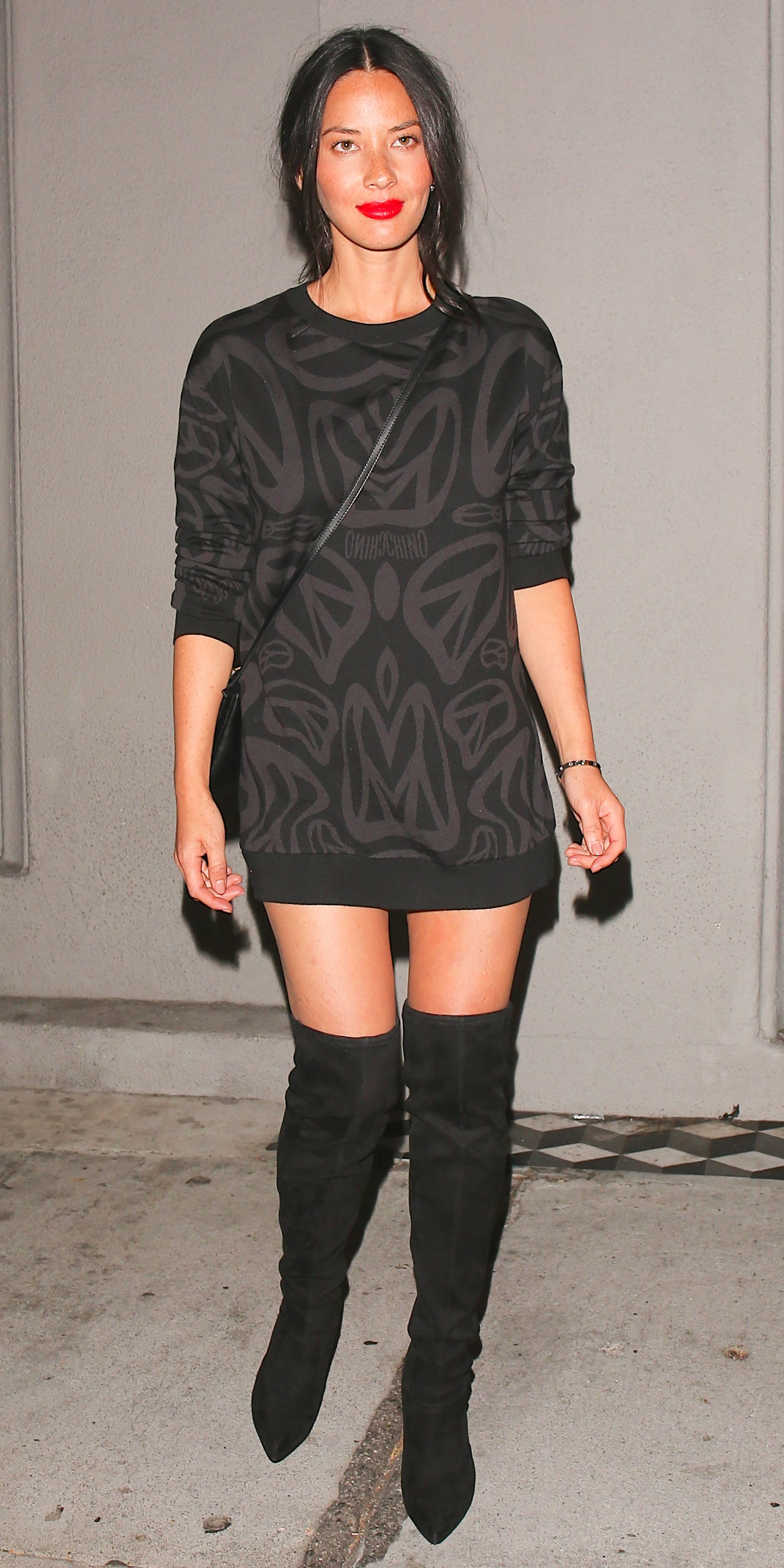 Olivia Munn Makes A Sweatshirt Dress And Thigh High Boots Work For Summer Celebrity Outfits Sweatshirt Dress Olivia Munn [ 3747 x 1874 Pixel ]
