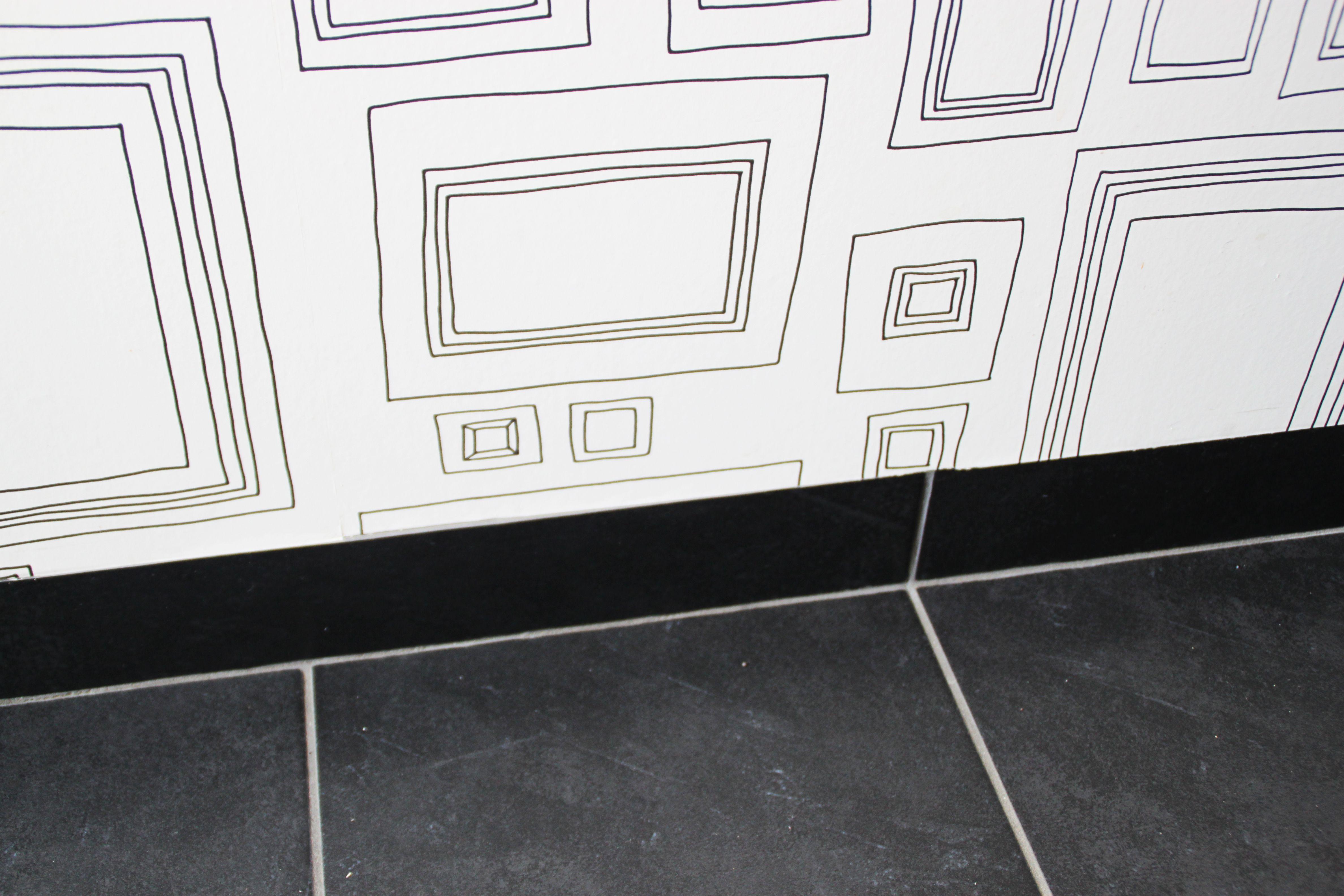 Plinthes Carrelage Cachées à Fleur Avec Le Papier Peint à Cadre - Plinthe carrelage cuisine professionnelle pour idees de deco de cuisine