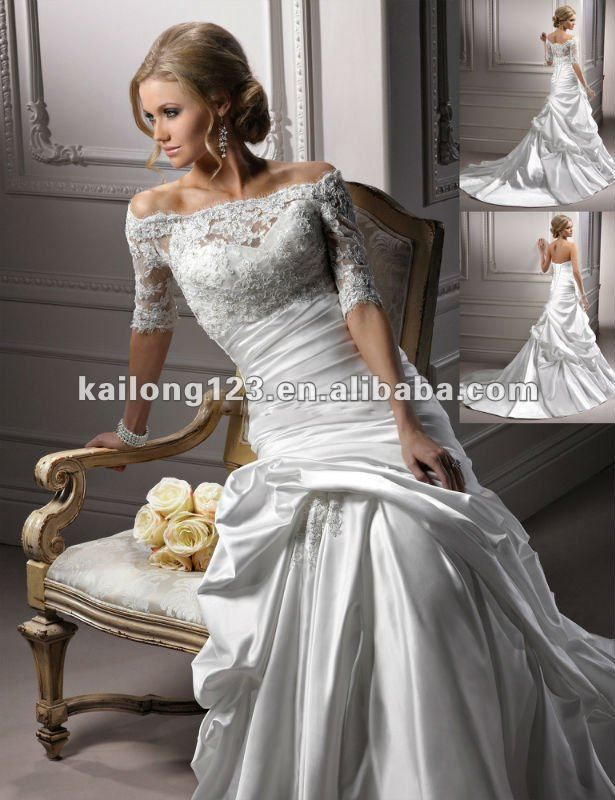 Quarter Sleeve Wedding Dress Elegant Three Sleeves Portrait Trumpet Lace Satin