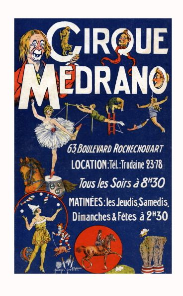 'Cirque Medrano' 'Cirque Medrano' / Circus Medrano programme cover '63 Boulevard Rochechouart All evenings at 830pm Matinees on Thursdays and...