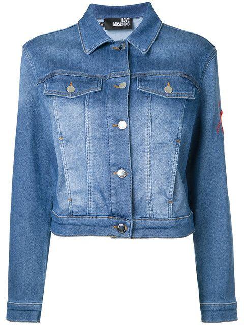5978849402 Shop Love Moschino cropped denim jacket.