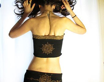 Vidya Mandala crop top. Yoguini top. Sacred by AbstractikaCrafts