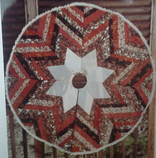 Poinsettia Tree Skirt quilt pattern by by MoonlightMercantile, $9.00