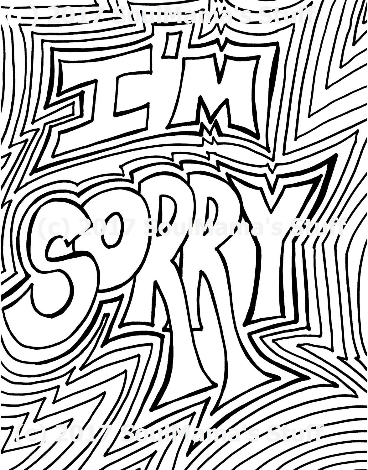 I M Sorry Coloring Page Digital Download 8 5x11 Pdf Coloring