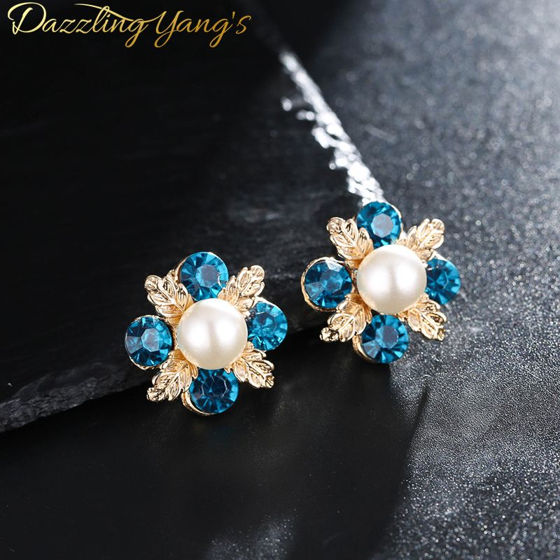 >> Click to Buy << Dazzling yang's Fashion Jewelry For Women  Flower Shape  Blue White Imitation Earrings Inlay  Elegant Pearl (White) #Affiliate