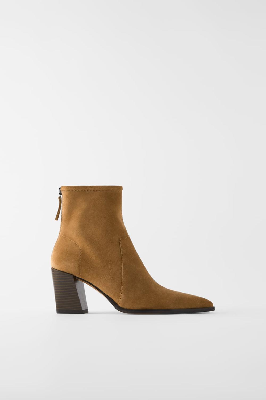 Botki Na Obcasie Z Dwoiny Typu Soft Must Have Buty Kobieta Zara Polska Heeled Ankle Boots Boots High Heel Boots Ankle