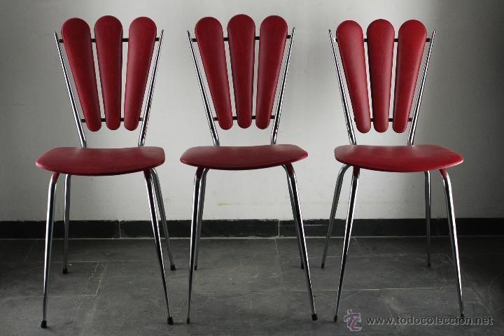 lote 3 silla vintage skay rojo cromado retro industrial España 60's
