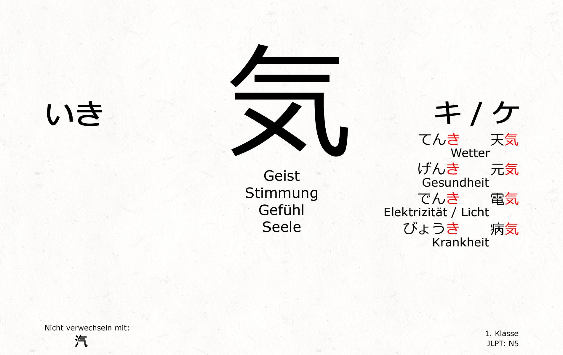 Japanisch Kanji \'Geist / Stimmung / Gefühl / Seele\'   Kanji ...
