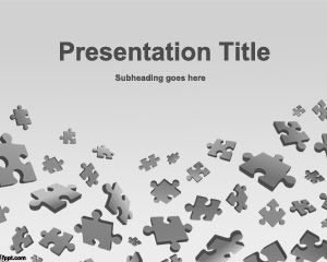 Puzzle Game Powerpoint Template With Gray Background And Pieces Of