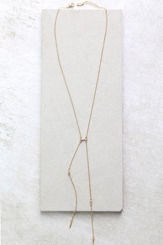 #AdoreWe #Lulus Ettika Ettika Cutting Edge Gold Rhinestone Necklace - AdoreWe.com