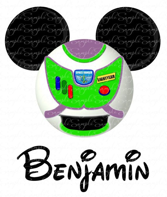Personalized Toy Story Buzz Mickey Head Disney DIY Printable Digital File Iron On Pillowcase Tote Bag