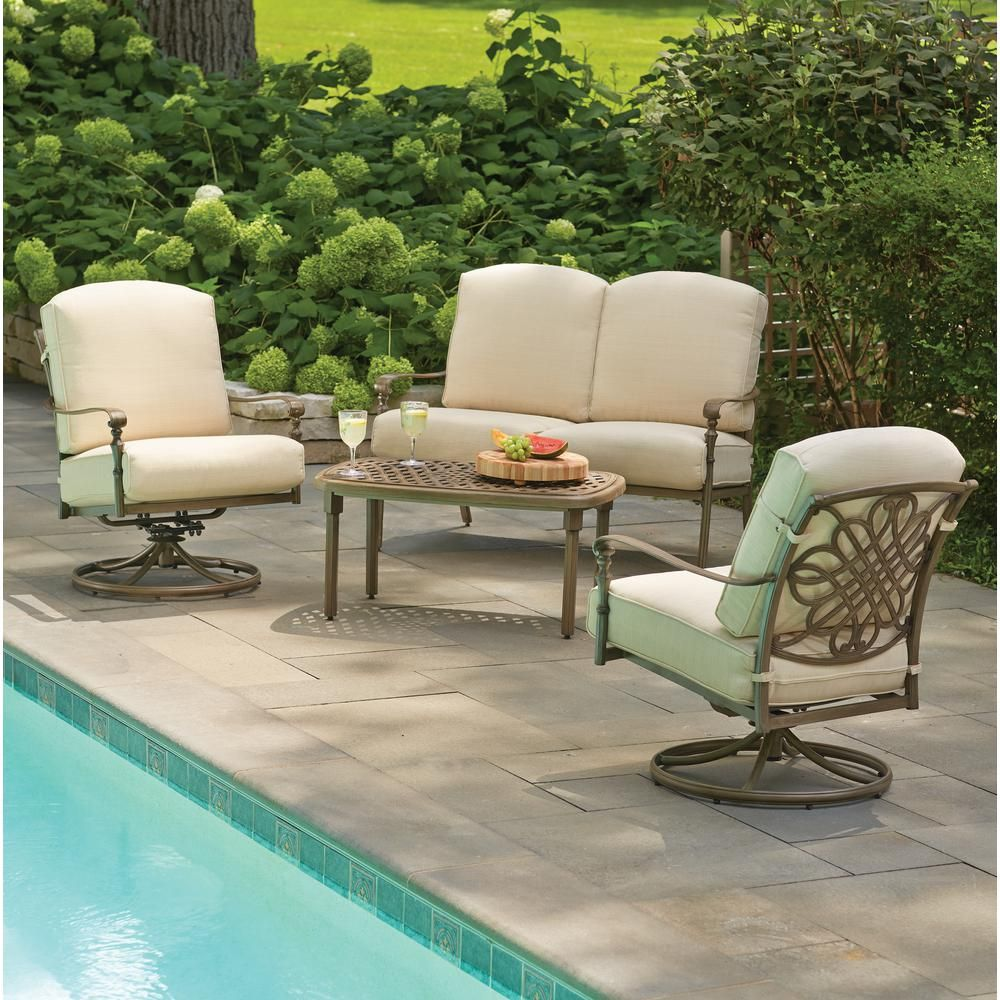 Hampton Bay Cavasso 4 Piece Metal Outdoor Deep Seating Set With Oatmeal  Cushions