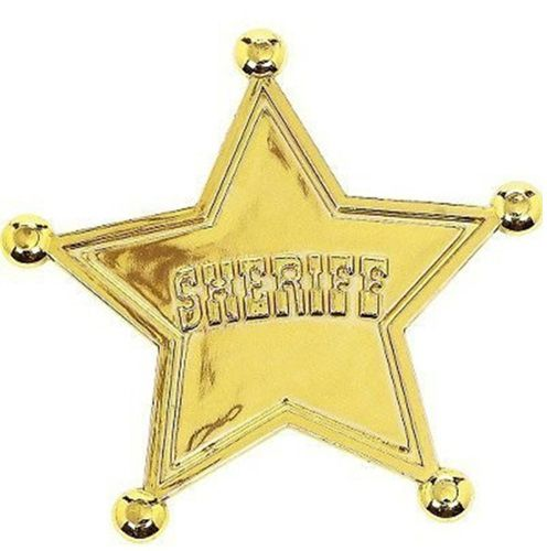 Watch out!  There�s a new sheriff in town!  The Toy Story 3 Sheriff Badge Favors are 2.25 inch plastic gold stars with rounded tips and �SHERIFF� embossed across the front of the badge.  On the back of the badge is an easy hook pin to simply attach the badge to a shirt or jacket.  The sheriff badges can be used to help fill a party pi�ata, loot bags, or handed out for guests to wear during the Toy Story 3 party.  One package contains 6 sheriff badges.