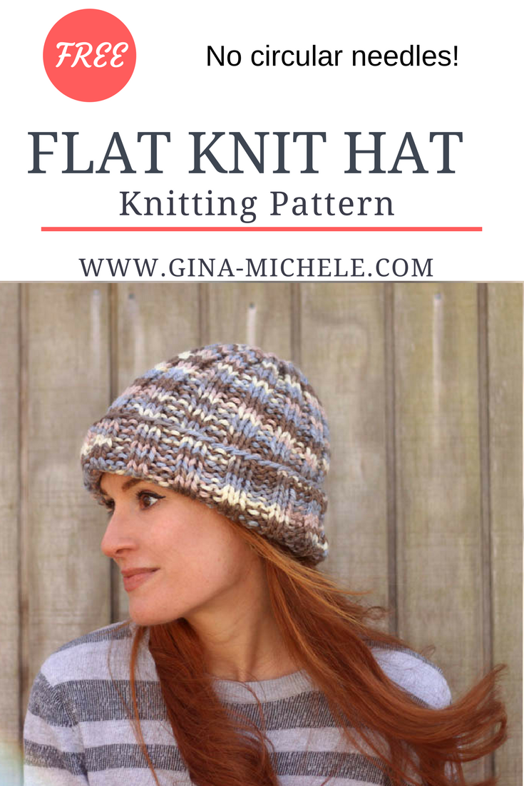 8af1075d428 FREE knitting pattern for this Flat Knit Hat. Perfect for beginners- uses straight  needles!
