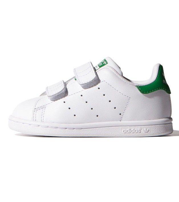 Adidas Stan Smith CF I Toddler White/Green, Kids Footwear, www.oishi