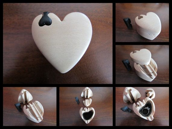 On Backorder 12 6 15 New Order Production Begins On 1 8 16 Puzzle Box Engagement Ring Box Heart Shaped Wood Ring Puzzle Box Wood Ring Box Proposal Ring Box