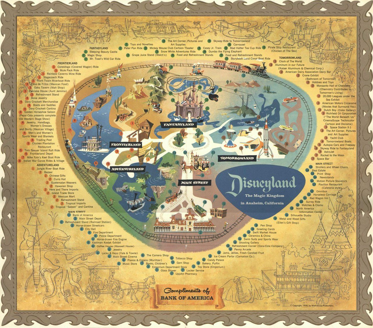 1956 disneyland map compliments of bank of america some say you 1956 disneyland map compliments of bank of america some say you had to go gumiabroncs Image collections