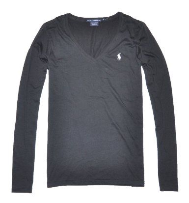 67e59f05f Amazon.com  Ralph Lauren Sport Women Lightweight Pony Logo V-neck Long  Sleeve T-shirt  Clothing