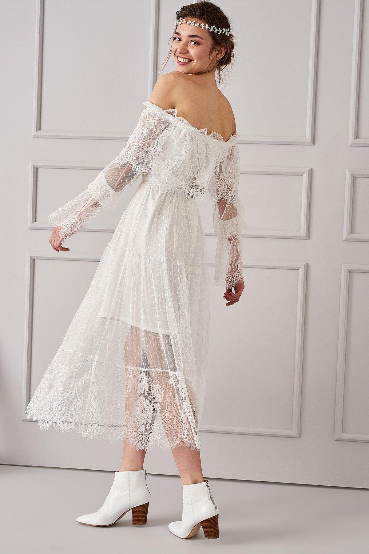 Ekru Carmen Yaka Elbise Trendyolmilla Trendyol Moda Stilleri Elbise Giyim