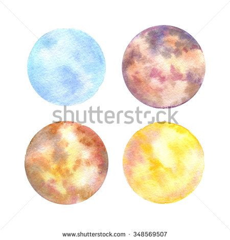 Set of 4 cute and bright watercolor hand drawn circles in natural colors for your design.