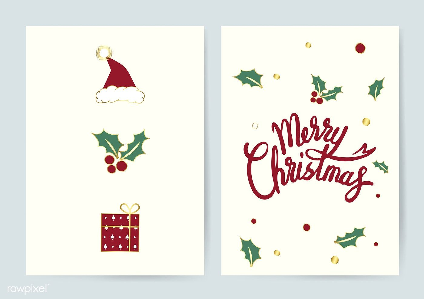 Merry Christmas Typography Card Vector Free Image By Rawpixel