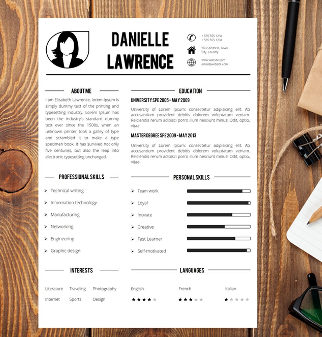 Modern Resume Template Cover Letter Word Cv Template Creative