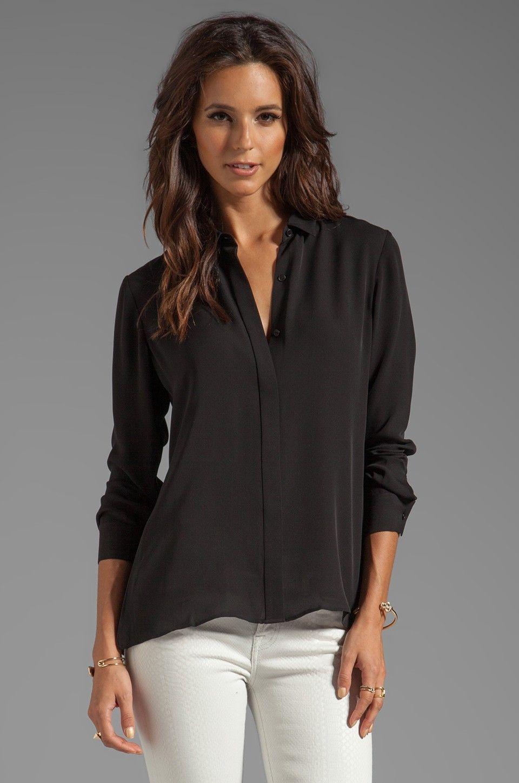 cc8267c3d07abc Theory Black Silk Blouse Styles | Blouses | Black silk blouse ...