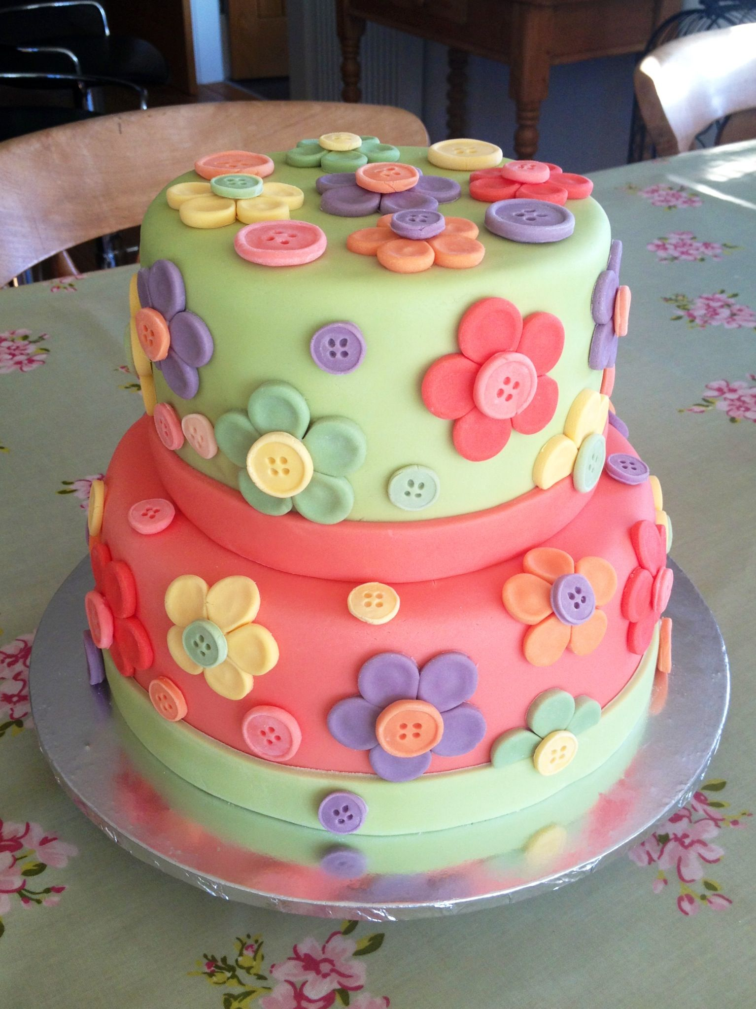 Pastel Cute as a Button 1st Birthday Party cakes Pinterest