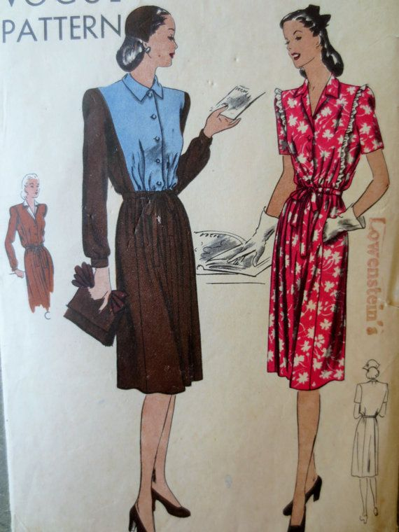 Vintage Vogue 5222 Sewing Pattern, 1940s Sewing Pattern, 1940s Dress ...