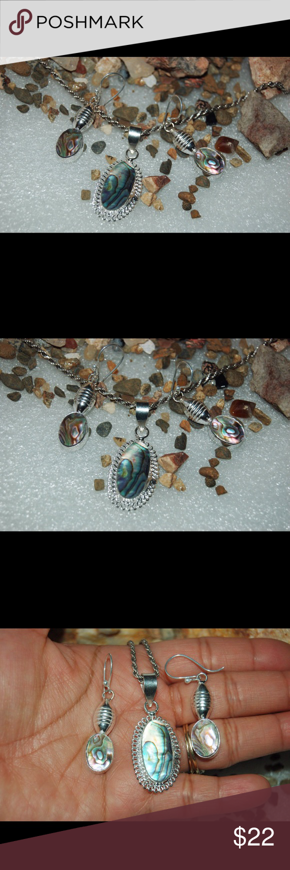 """Super Lightweight Statement Set of Abalone Shell Earrings:2"""", weight,5.8grams.Pendant:1"""" long.set on silver over copper.Please note that the photos are enlarge slightly for your convenience so make sure to notice the actual measurements of the item on the """"product description""""as it maybe smaller than the representing photo. Colors of the stone also may be slightly vary than the pictures due to light.These are all handmade items in my closet so please do not expect perfection. Thank you so…"""