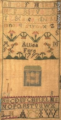 Sampler by Allida Ford, 1797 Hand-embroidered cotton on linen
