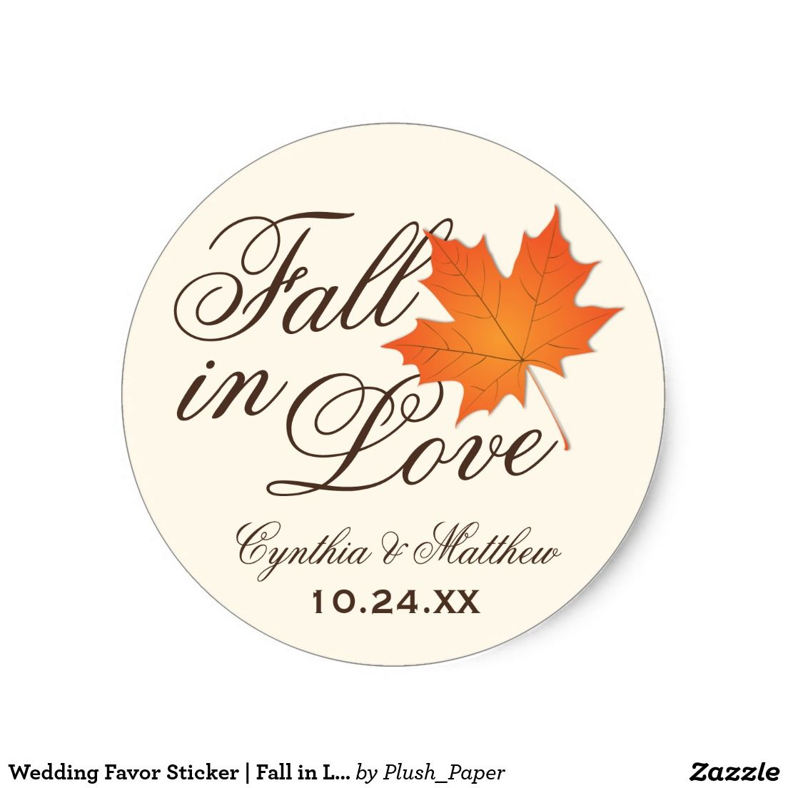 Wedding Favor Sticker | Fall in Love Theme | In love, Wedding! and ...